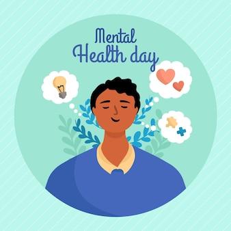 Dibujado a mano día mundial de la salud mental con hombre