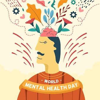 Dibujado a mano día mundial de la salud mental
