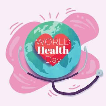 Dibujado a mano el día mundial de la salud con planeta y estetoscopio