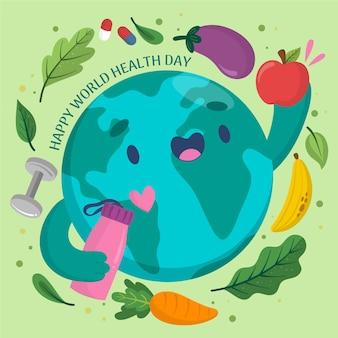 Dibujado a mano el día mundial de la salud