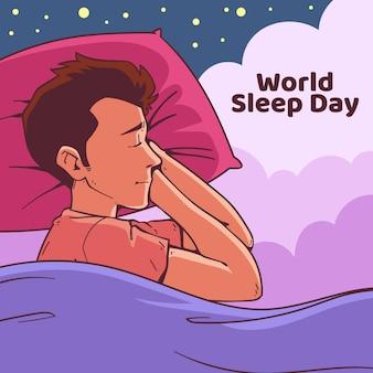 Dibujado a mano día mundial del sueño con hombre durmiendo