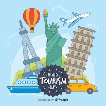 Dibujado a mano el día mundial del turismo con hitos