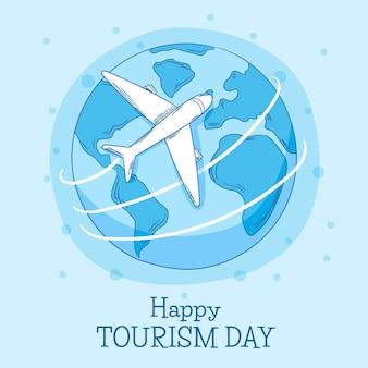 Dibujado a mano día mundial del turismo