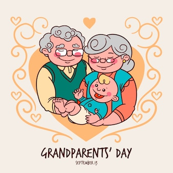 Dibujado a mano el día nacional de los abuelos con bebé