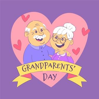 Dibujado a mano el día nacional de los abuelos (ee. uu.)