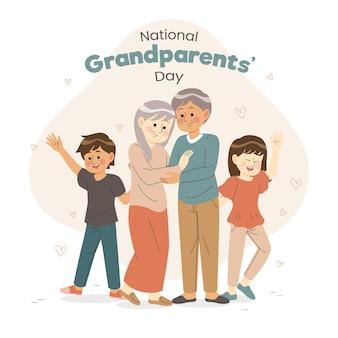 Dibujado a mano el día nacional de los abuelos con los nietos