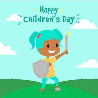 Dibujado a mano el día del niño con una niña que tiene una espada de juguete y un escudo