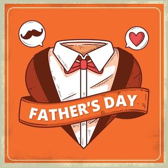 Dibujado a mano el día del padre con corazón y bigote