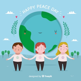 Dibujado a mano día de la paz diferentes niños tomados de la mano