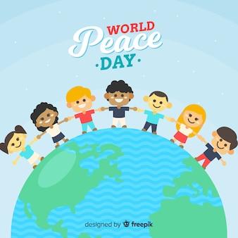 Dibujado a mano el día de la paz con niños tomados de la mano
