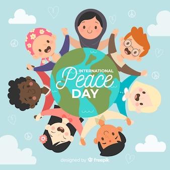 Dibujado a mano día de paz con niños