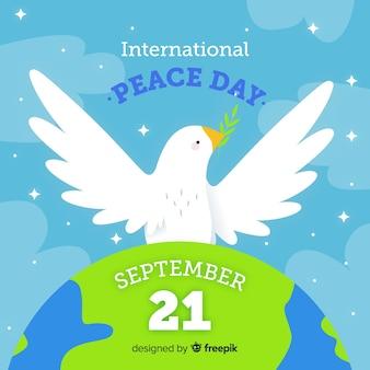 Dibujado a mano el día de la paz en septiembre