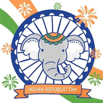 Dibujado a mano día de la república india con elefante
