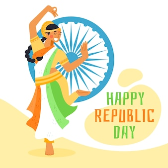 Dibujado a mano el día de la república india con mujer bailando