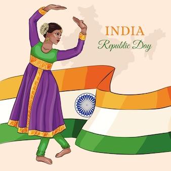 Dibujado a mano día de la república india con mujer