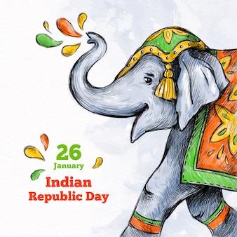 Dibujado a mano día de la república india