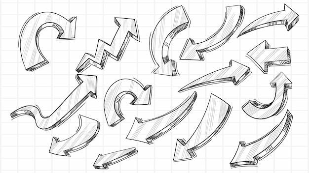 Dibujado a mano dibujo creativo diseño de conjunto de flechas
