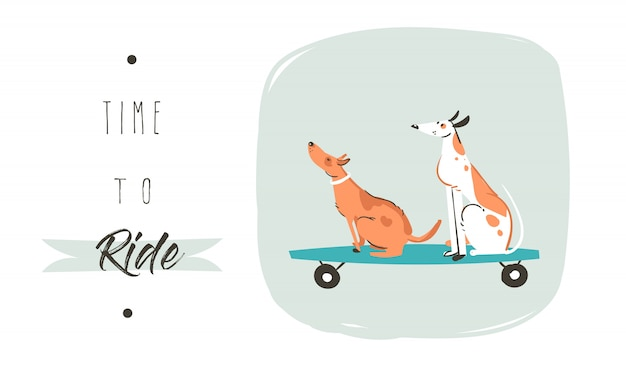 Dibujado a mano dibujo de dibujos animados divertido cartel de ilustración de verano con perros a caballo en patinetas y cita de tipografía moderna tiempo para montar aislado