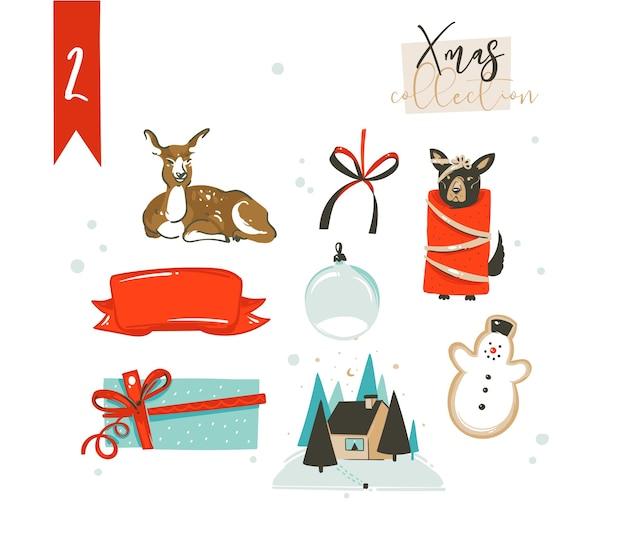 Dibujado a mano dibujos animados abstractos clásicos feliz navidad tiempo ilustraciones