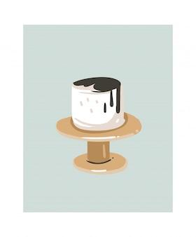 Dibujado a mano dibujos animados abstractos cocinar tiempo diversión ilustraciones icono con pastel de crema blanca en soporte de pastel aislado en blanco