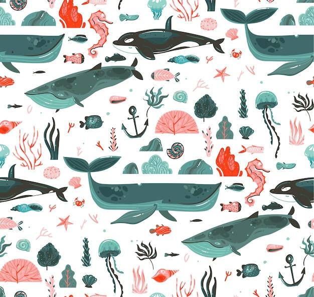 Dibujado a mano dibujos animados abstractos gráficos tiempo de verano bajo el agua ilustraciones del fondo del océano de patrones sin fisuras con arrecifes de coral, ballenas, orca aislado sobre fondo blanco.