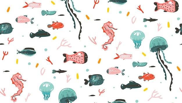 Dibujado a mano dibujos animados abstractos gráficos de verano bajo el agua ilustraciones de patrones sin fisuras con arrecifes de coral, medusas aisladas sobre fondo blanco.