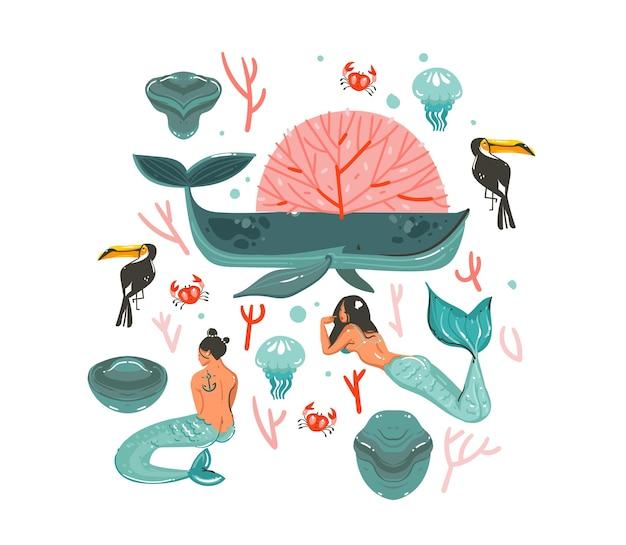 Dibujado a mano dibujos animados abstractos gráficos verano ilustraciones submarinas con arrecifes de coral y personajes de chicas de belleza sirena bohemia aislados sobre fondo blanco.