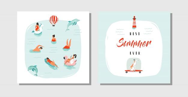 Dibujado a mano dibujos animados abstractos horario de verano colección de tarjetas divertidas plantilla con gente feliz nadando en el agua del océano azul, perro en patineta y cita de tipografía best summer ever.
