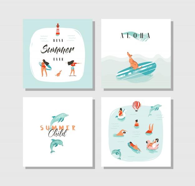 Dibujado a mano dibujos animados abstractos horario de verano divertido colección de tarjetas set plantilla con gente feliz nadando en agua de mar azul, perro en patineta y cita de tipografía sobre fondo blanco.