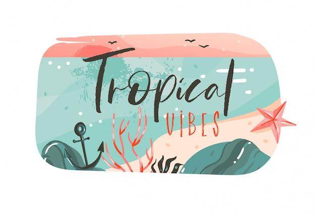 Dibujado a mano dibujos animados abstractos horario de verano ilustraciones gráficas arte plantilla banner insignia fondo con paisaje de playa oceánica, vista del atardecer rosa con cita de tipografía tropical vibes