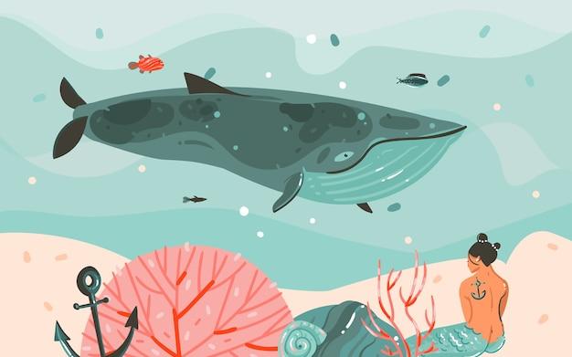 Dibujado a mano dibujos animados abstractos horario de verano ilustraciones gráficas arte plantilla fondo sirena chica, ballena y olas azules bajo el agua.