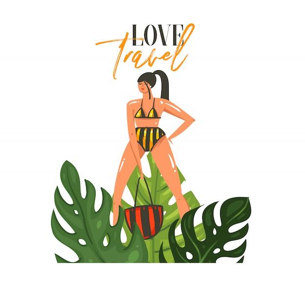 Dibujado a mano dibujos animados abstractos horario de verano ilustraciones gráficas arte plantilla muestra fondo con chica, hojas de palmeras tropicales y tipografía moderna love travel sobre fondo blanco