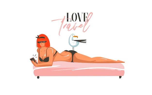 Dibujado a mano dibujos animados abstractos horario de verano ilustraciones gráficas arte plantilla muestra fondo con chica, relajante en la escena de la playa y tipografía moderna love travel sobre fondo blanco