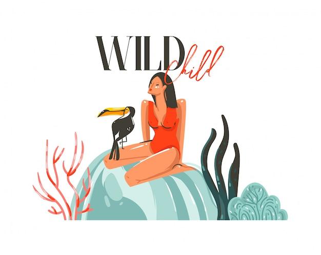 Dibujado a mano dibujos animados abstractos horario de verano ilustraciones gráficas arte plantilla muestra fondo con niña, pájaro tucán en la playa y tipografía moderna wild child sobre fondo blanco