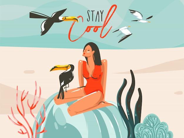 Dibujado a mano dibujos animados abstractos horario de verano ilustraciones gráficas arte plantilla muestra fondo con niña, pájaros tucán en escena de playa y tipografía moderna stay cool sobre fondo blanco