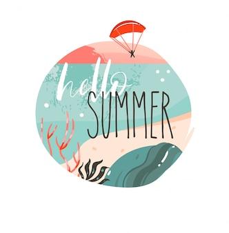 Dibujado a mano dibujos animados abstractos horario de verano ilustraciones gráficas diseño de logotipo de fondo de plantilla de arte con paisaje de playa de océano, puesta de sol y cita de tipografía hola verano