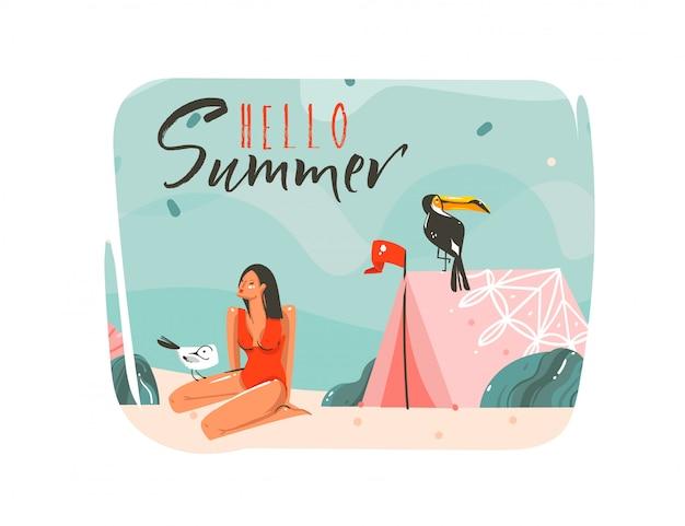Dibujado a mano dibujos animados abstractos horario de verano