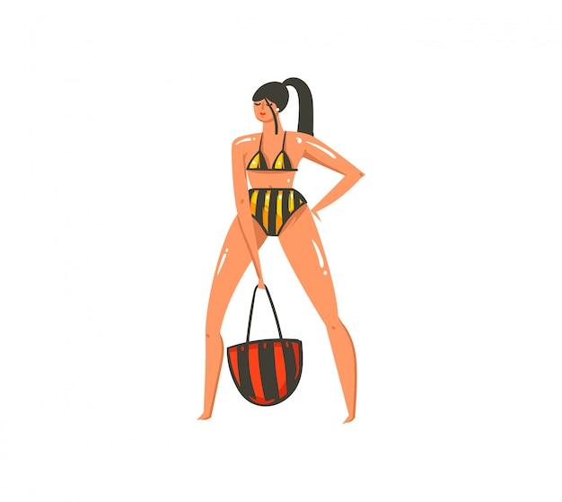 Dibujado a mano dibujos animados abstractos ilustraciones de verano imprimir con chica sobre fondo blanco.