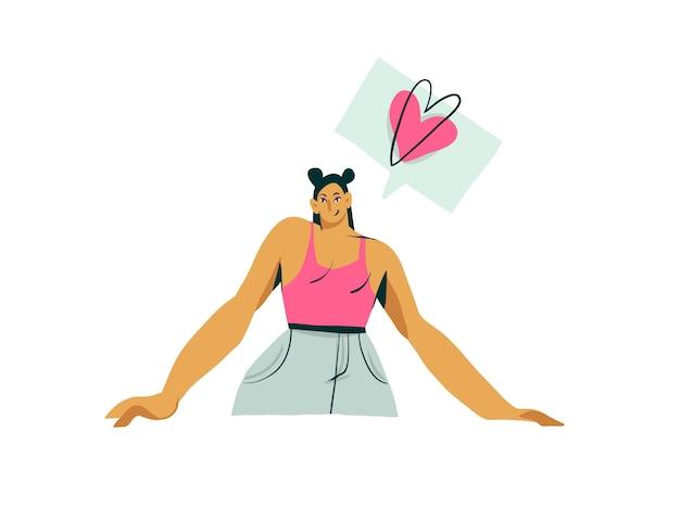 Dibujado a mano de dibujos animados abstractos moderna chica influyente personaje ilustración arte sobre fondo blanco
