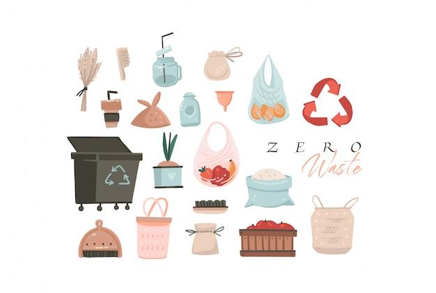 Dibujado a mano de dibujos animados abstractos modernas ilustraciones gráficas colección de arte con zero waste y save planet ilustraciones concepto aislado sobre fondo blanco.