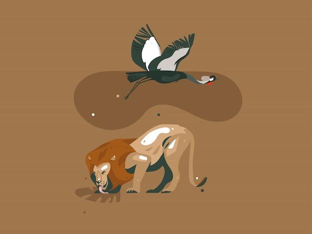 Dibujado a mano dibujos animados abstractos modernos gráficos safari africano naturaleza concepto collage ilustraciones arte tarjeta con león, pájaro grulla y hojas de palmeras tropicales aisladas sobre fondo de color pastel