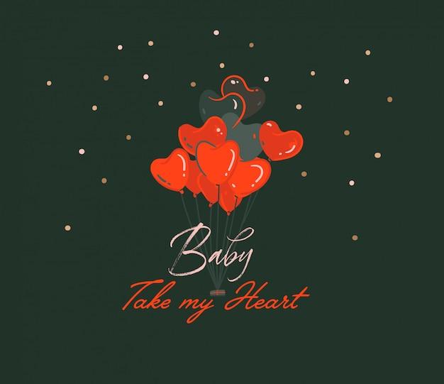 Dibujado a mano dibujos animados abstractos modernos ilustraciones del concepto de feliz día de san valentín con globos de corazón y el bebé toman mi corazón texto aislado sobre fondo negro