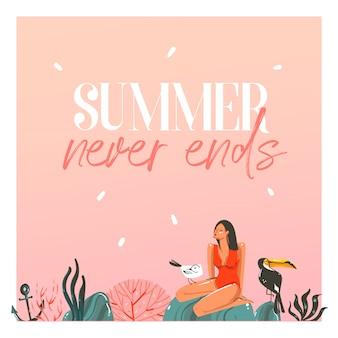 Dibujado a mano dibujos animados abstractos tarjetas de plantilla de ilustraciones de verano con chica, puesta de sol, pájaros de tucán en la escena de la playa y tipografía moderna el verano nunca termina en el fondo blanco