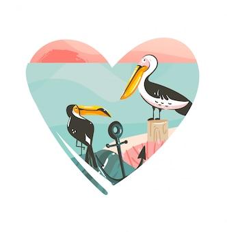 Dibujado a mano dibujos animados abstractos verano tiempo playa ilustraciones gráficas arte plantilla logo fondo en forma de corazón con paisaje de playa oceánica, vista del atardecer rosa y tucán y pelícano