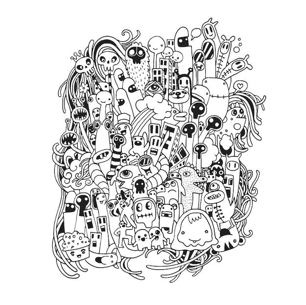 Dibujado a mano dibujos animados de alienígenas y monstruos doodle