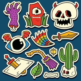 Dibujado a mano dibujos animados doodle diseño de etiqueta de halloween