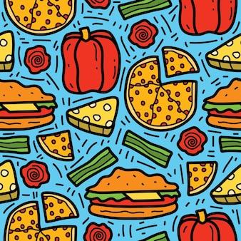 Dibujado a mano dibujos animados doodle diseño de patrón de comida