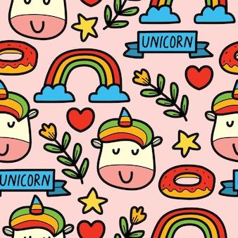 Dibujado a mano dibujos animados doodle diseño de patrón de unicornio