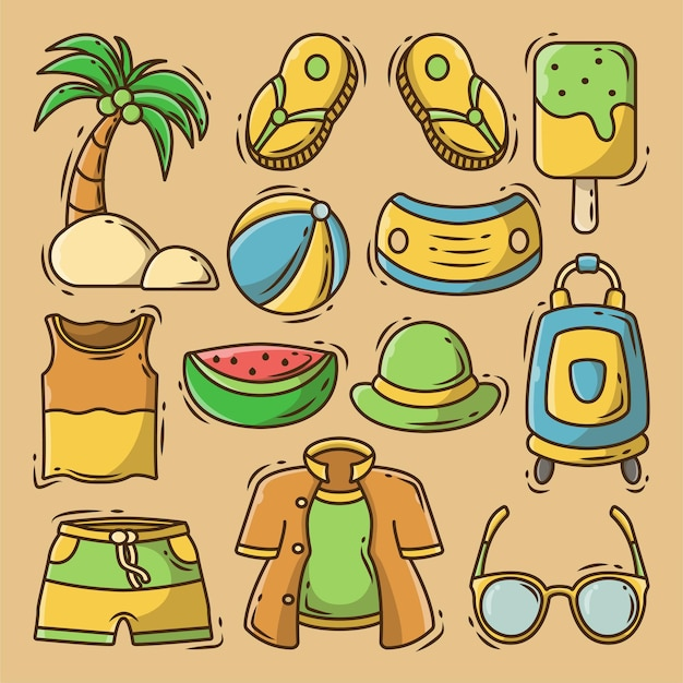 Dibujado a mano dibujos animados doodle elementos de verano