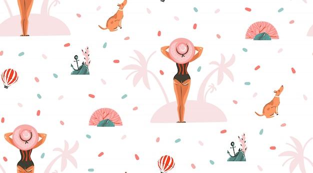 Dibujado a mano dibujos animados gráficos abstractos ilustraciones de horario de verano patrones sin fisuras con niña y perro en la playa de verano sobre fondo rosa pastel